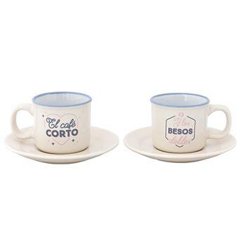 Mr Wonderful Set de 2 tazas espresso - El café corto y los besos dobles