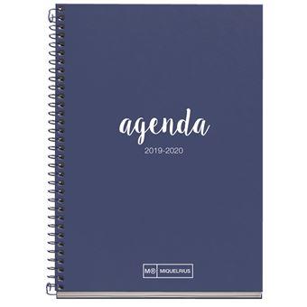 Agenda Miquelrius 2019/20 Semana Vista + Mes Vista Lettering Azul marino