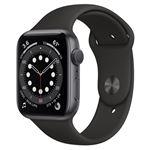 Apple Watch S6 44 mm GPS Caja de aluminio en Gris espacial y correa deportiva en Negro