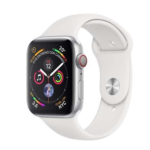 Apple Watch Series 4 GPS + Cellular 40 mm aluminio en plata y correa deportiva blanca
