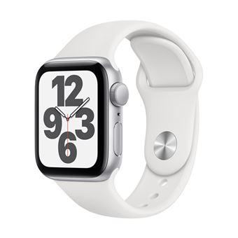 Apple Watch SE 44 mm GPS, Caja de aluminio en plata y correa deportiva Blanco