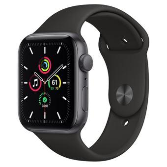 Apple Watch SE 44 mm GPS, Caja de aluminio en gris espacial y correa deportiva Negro
