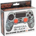 Pack protector silicona y grips Camo Digital Black PS4