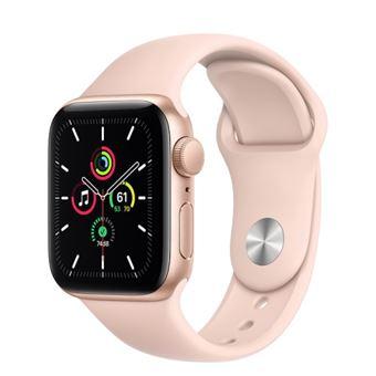 Apple Watch SE 44 mm GPS, Caja de aluminio en oro y correa deportiva Rosa arena