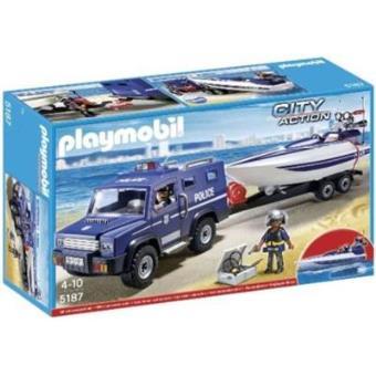 Playmobil City Action Coche de policía con lancha