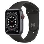 Apple Watch S6 44 mm LTE Caja de aluminio en Gris espacial y correa deportiva Negro