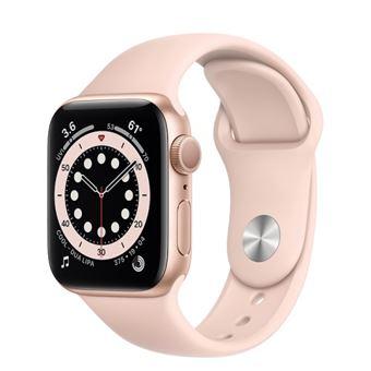 Apple Watch S6 44mm GPS Caja de aluminio en Oro y correa deportiva Rosa arena