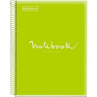 Cuaderno A5 microperforado Miquelrius Emotions cuadrícula 5x5 mm lima