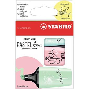 Pack 3 marcadores Stabilo Mini Pastel Love