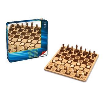 Juego ajedrez y damas en madera