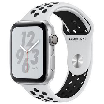 Apple Watch S4 Nike+ GPS 44 mm Caja de aluminio en plata y correa Nike Sport Platino puro/Negro