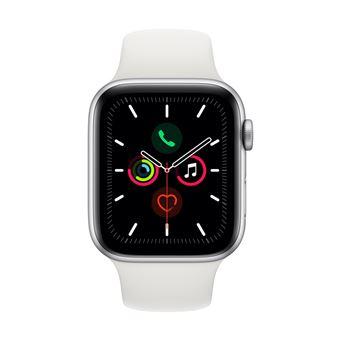 Apple Watch S5 44 mm GPS Caja de aluminio en plata y Correa deportiva Blanco
