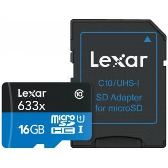 Tarjeta MicroSDHC con adaptador SD Lexar 16 GB