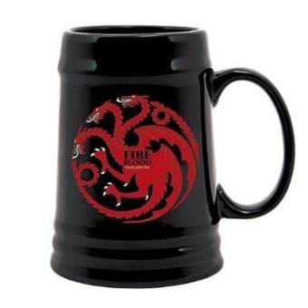 Juego de TronosJarra cerámica negra Juego de tronos - Emblema y lema Casa Targaryen