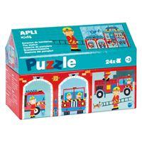 Puzzle Apli 24 piezas de cartón Parque de bomberos