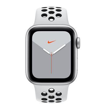 Apple Watch S5 Nike 40 mm GPS Caja de aluminio en plata y correa Nike Sport Platino puro/Negro