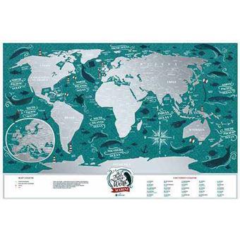 Mapamundi para rascar 1dea.me Viaje por el mundo marino 60 x 40
