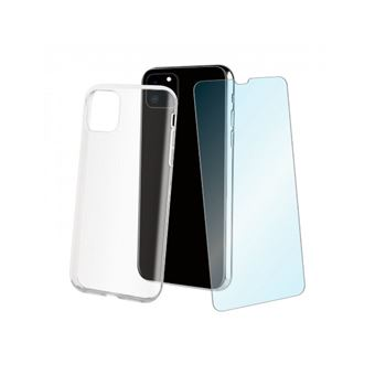 Funda Muvit Cristal Soft Transparente + Protector de pantalla Cristal templado para iPhone 11 Pro Max