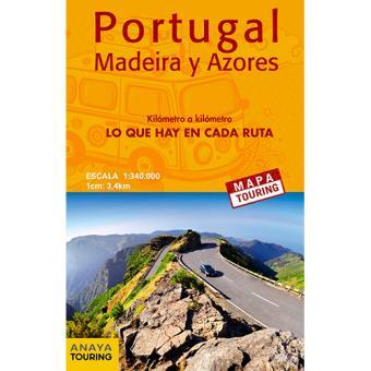 Mapa Touring: Mapa de carreteras de Portugal, Madeira y Azores. Desplegable