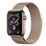 Apple Watch S4 44mm LTE Caja de acero inoxidable en oro y pulsera Milanese Loop en el mismo tono