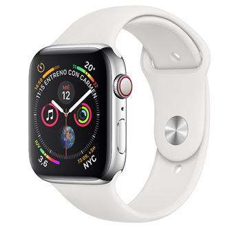 Apple Watch S4 44mm LTE Caja de acero inoxidable en plata y correa deportiva Blanca
