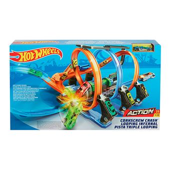 Hot Wheels Triple Looping pista de coches Mattel