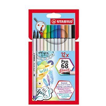 Estuche 12 colores Stabilo pen 68 brush punta pincel colores surtidos