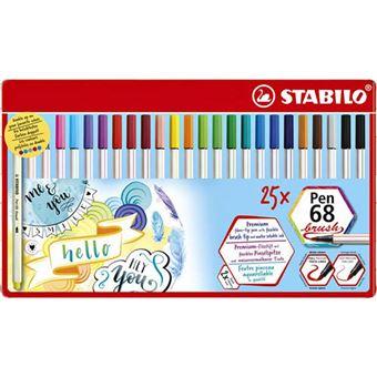 Estuche metálico 25 colores Stabilo pen 68 brush punta pincel colores surtidos