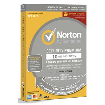 Norton Security Premium 1 Año 10 Dispositivos