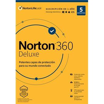 Norton 360 Deluxe 5 dispositivos 1 año