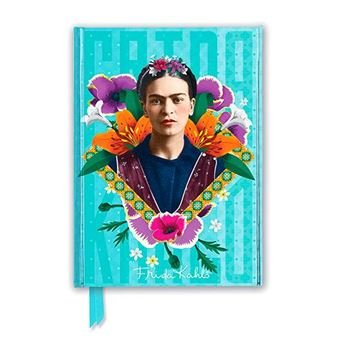 Cuaderno A5 Flame Tree Notebooks Frida Kahlo Blue rayas azul