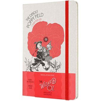 Cuaderno Moleskine El Mago de Oz Campo de amapolas large rayas tapa dura rojo