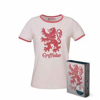 Camiseta chica Harry Potter - Escudo Gryffindor Blanca Talla L