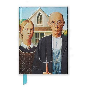 Cuaderno A5 Flame Tree Notebooks Grant Wood American Gothic rayas