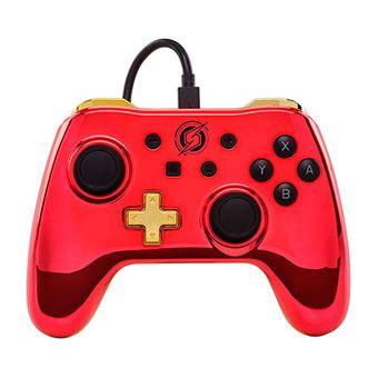 Mando Power traveller Logo Samus Cromado Rojo para Nintendo Switch