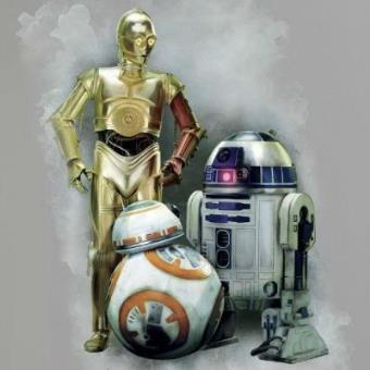 Pegatina Star Wars Robots pared (74x98cm)