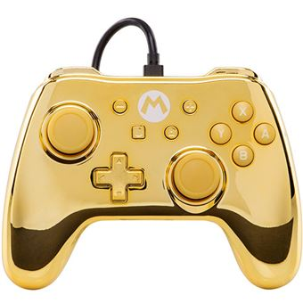 Mando Power traveller Logo Mario Cromado Dorado para Nintendo Switch