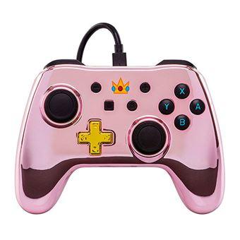 Mando Power traveller Logo Peach Cromado Rosa para Nintendo Switch