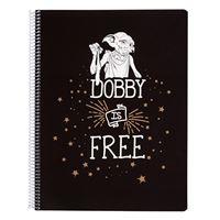 Cuaderno A4 Harry Potter Dobby microperforado cuadriculado 5x5 mm con tapa de polipropileno