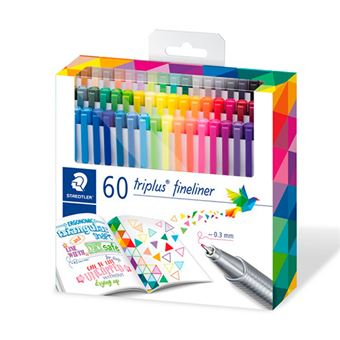 60 rotuladores Staedtler Triplus Fineliner colores surtidos