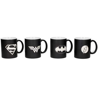 Set de cuatro tazas DC Liga de la Justicia - Logos