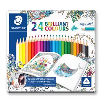 Estuche metálico con 24 lápices de colores Staedtler Johanna Basford Ergosoft