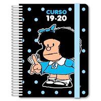 Agenda escolar 2019-2020 A6 con espiral día página Mafalda lunares negra