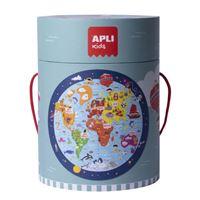 Puzzle circular Apli Mapamundi 48 piezas