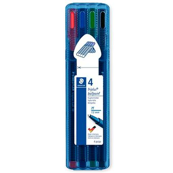 4 bolígrafos Staedtler Triplus Ballpoint colores variados