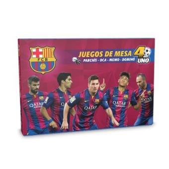 Juego Barcelona Parchís + Oca +Memo + Dominó 4 en 1