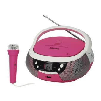 Radio CD portátil Daewoo DBU-59 karaoke rosa