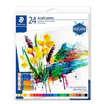24 tubos pintura acrílica Staedtler colores variados