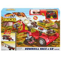 Pista de carreras Mattel Hot Wheels - Monster Trucks Downhill Race & Go
