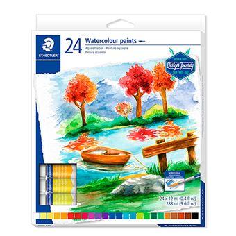 24 tubos pintura acuarela Staedtler colores variados